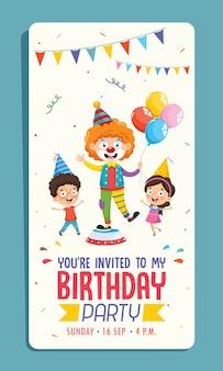 Ilustração em vetor de design de cartão de convite de festa de aniversário de crianças