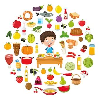 Ilustração em vetor de design de conceito de comida