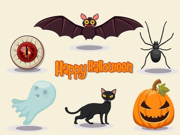 Ilustração em vetor de design de ícone de halloween feliz. elementos de design de halloween