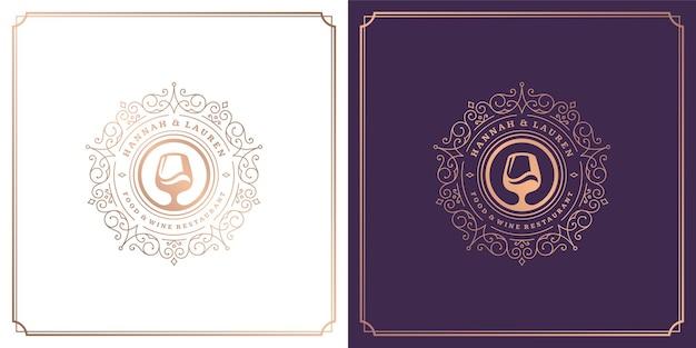 Ilustração em vetor de design de logotipo de restaurante silhueta de taças de vinho