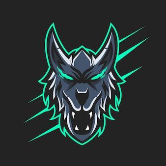 Ilustração em vetor de design de logotipo do mascote lobo