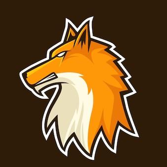 Ilustração em vetor de design de logotipo do mascote raposa