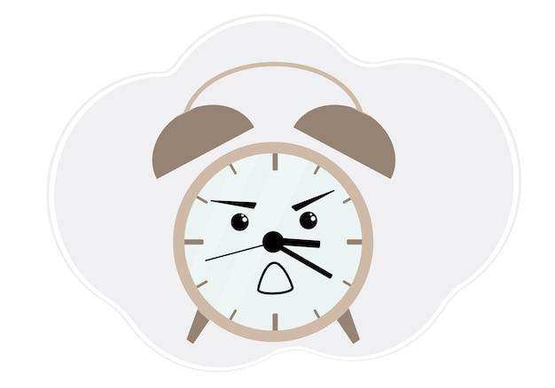 Ilustração em vetor de despertador marrom com emoção de raiva e choque