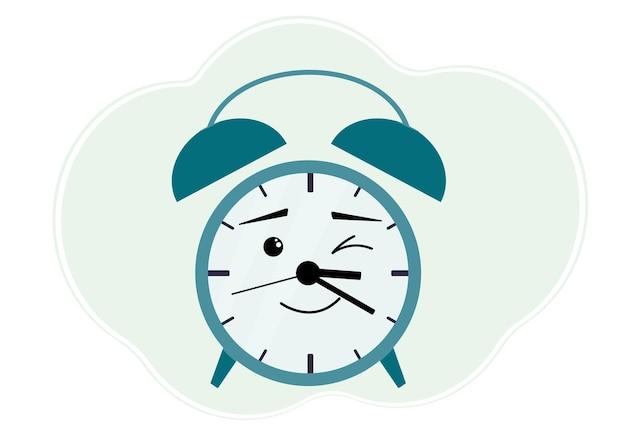 Ilustração em vetor de despertador turquesa com emoção alegre. winks