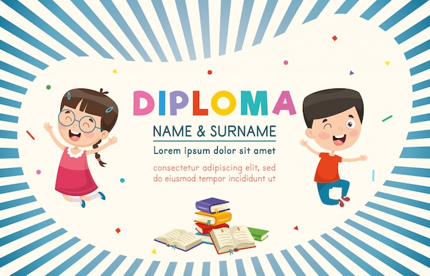 Ilustração em vetor de diploma de crianças