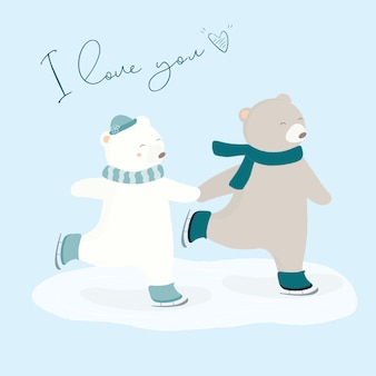 Ilustração em vetor de dois urso na patinação no gelo.