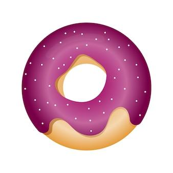 Ilustração em vetor de donut com esmalte em estilo simples ilustração de donut em esmalte rosa
