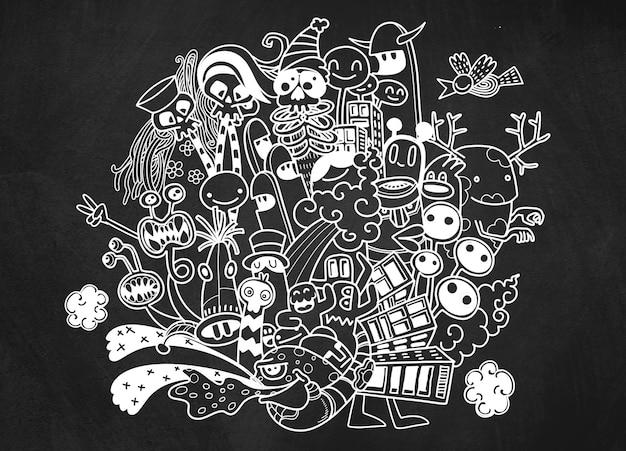 Ilustração em vetor de doodle monstro bonito, mão desenhando doodle