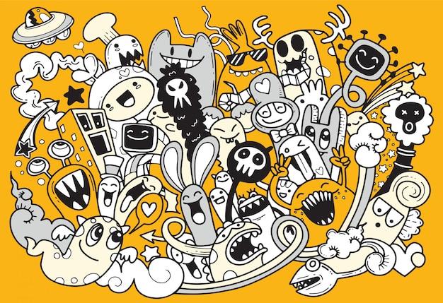 Ilustração em vetor de doodle monstro fofo, estilo cartoon