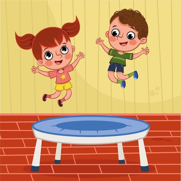 Ilustração em vetor de duas crianças pulando na cama elástica