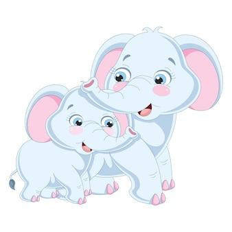 Ilustração em vetor de elefantes dos desenhos animados
