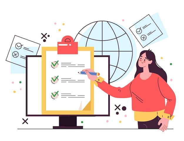 Ilustração em vetor de elemento de design de votação online plana cartoon
