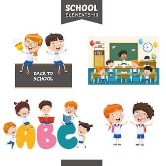 Ilustração em vetor de elementos de educação