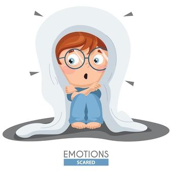 Ilustração em vetor de emoção de garoto assustado