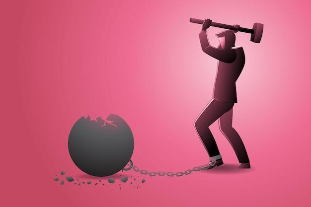 Ilustração em vetor de empresário quebrando bola de ferro com martelo que acorrentava em seus pés