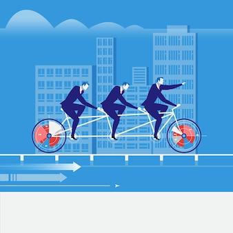 Ilustração em vetor de empresários andando de bicicleta tandem em estilo simples