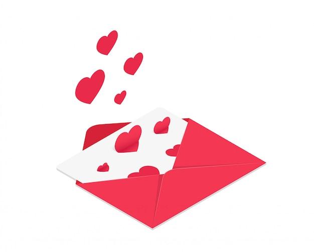 Ilustração em vetor de envelope isométrico vermelho com corações subindo.