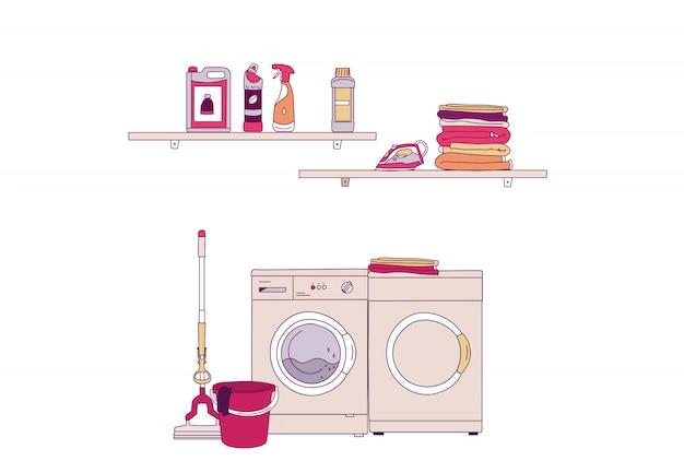 Ilustração em vetor de equipamento interior da lavanderia com máquina de lavar, produtos domésticos, pilha de roupas, ferro.