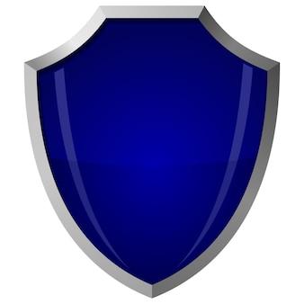 Ilustração em vetor de escudo de vidro azul em uma armação de aço