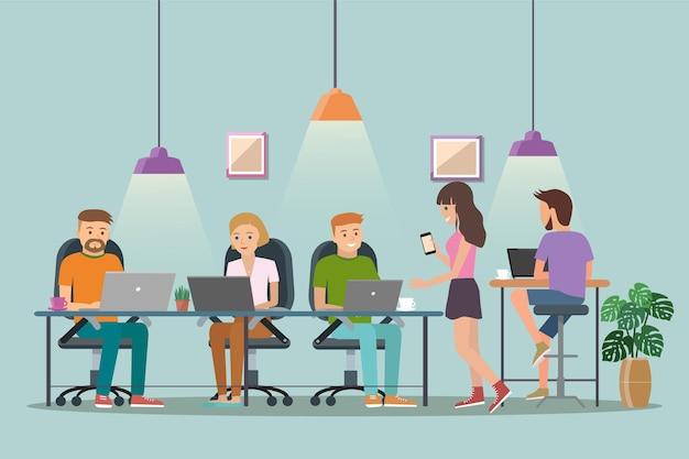 Ilustração em vetor de espaço de coworking. local de trabalho, escritório.