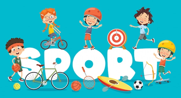 Ilustração em vetor de esporte de crianças