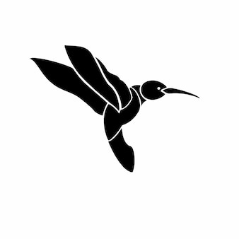Ilustração em vetor de estêncil de design de tatuagem de logotipo de colibri