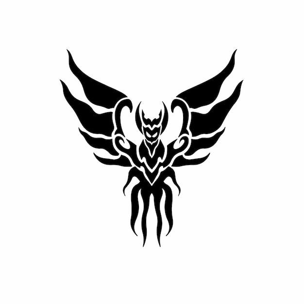 Ilustração em vetor de estêncil desenho de tatuagem tribal logotipo de phoenix bird