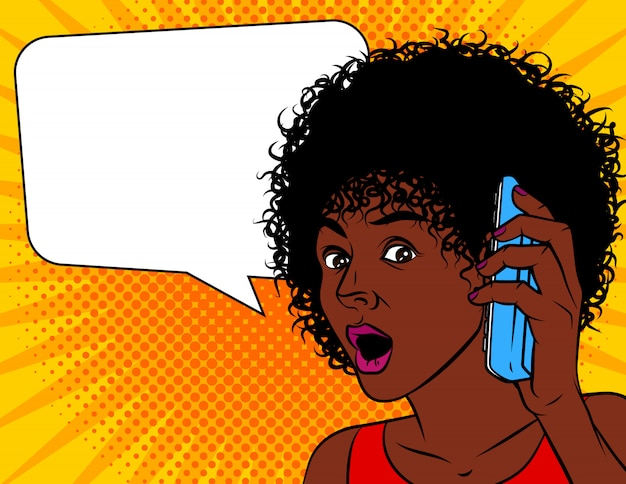 Ilustração em vetor de estilo cômico pop art. mulher afro-americana chocada. a mulher abriu a boca com espanto.