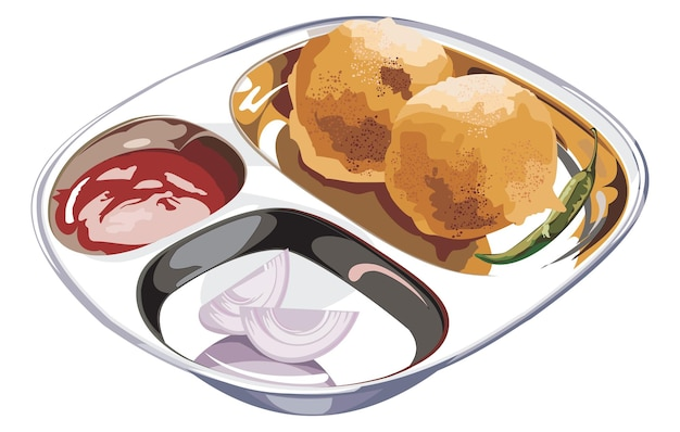Ilustração em vetor de estoque de aloo bonda ou alubonda ou batata vada ou batata pakora