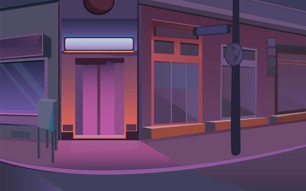 Ilustração em vetor de estoque de rua ilustração de uma rua em purpur ilustração de uma cidade à noite