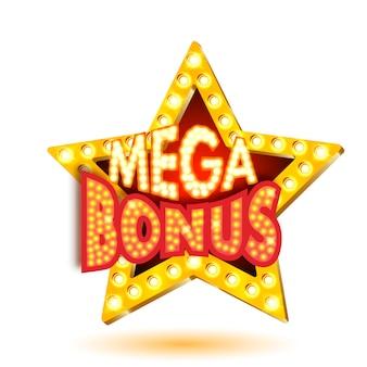 Ilustração em vetor de estrela de mega bônus banner com luzes