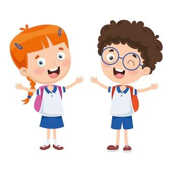 Ilustração em vetor de estudantes dos desenhos animados