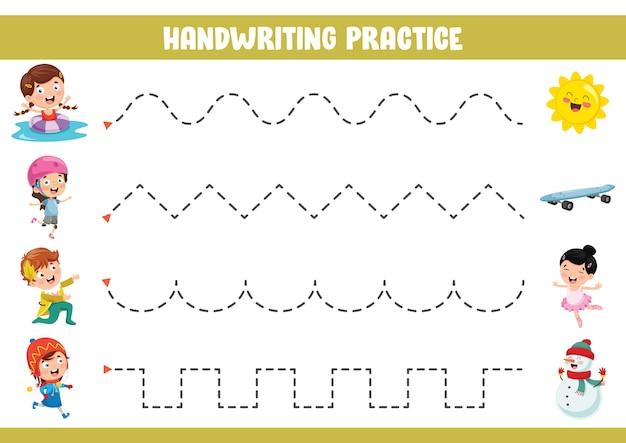 Ilustração em vetor de exercício de caligrafia