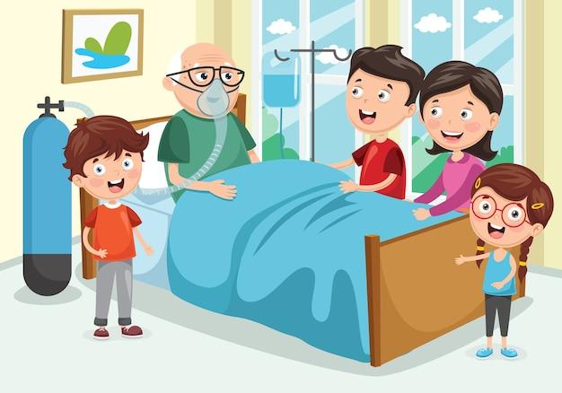 Ilustração em vetor de família visita avô no hospital