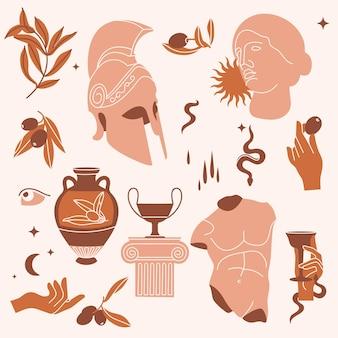 Ilustração em vetor de feixe de sinais e símbolos antigos - estátuas, ramo de oliveira, ânfora, coluna, capacete. elementos de estilo grego ou romano antigo. padrão uniforme.