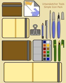 Ilustração em vetor de ferramenta de desenhista de viagens