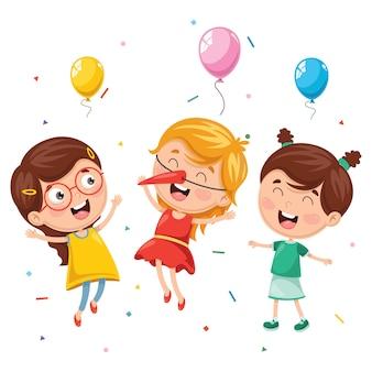 Ilustração em vetor de festa de aniversário de crianças