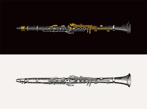 Ilustração em vetor de flauta jazz instrumento musical trompete de vento clássico em estilo de esboço de doodle