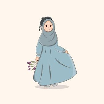 Ilustração em vetor de flor segurando hijab bonito, garota muçulmana com desenho de hijab