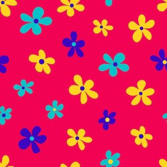 Ilustração em vetor de flores multicoloridas brilhantes de estilo minimalista formando um padrão uniforme em fundo rosa
