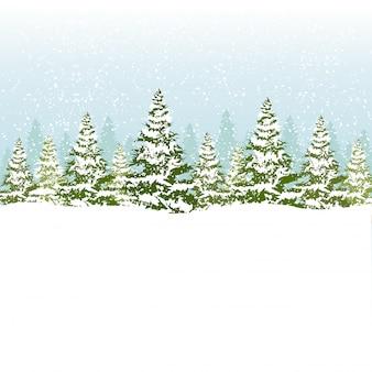 Ilustração em vetor de floresta de natal.