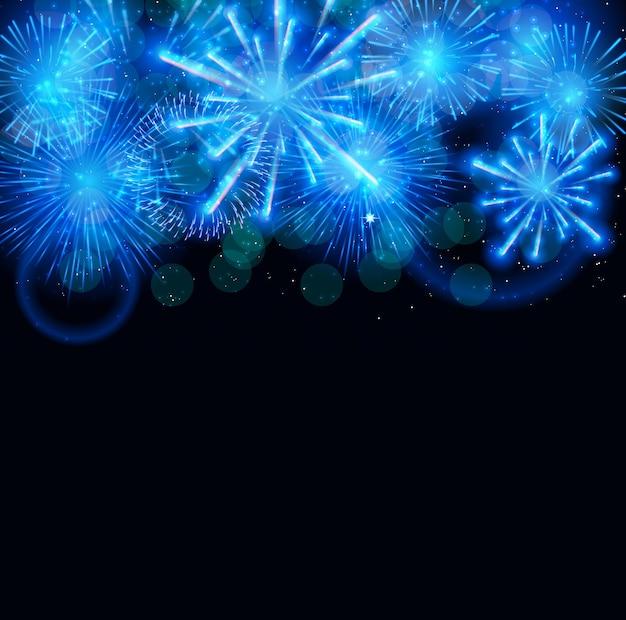 Ilustração em vetor de fogos de artifício, saudação em um fundo escuro