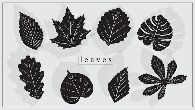 Ilustração em vetor de folhas de plantas e árvores na cor preta. eps 10.
