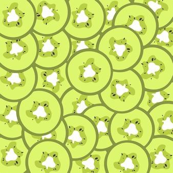 Ilustração em vetor de frutas de fundo de padrão de fatia de kiwi