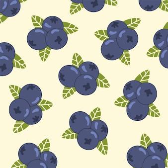 Ilustração em vetor de frutas de fundo padrão de mirtilo