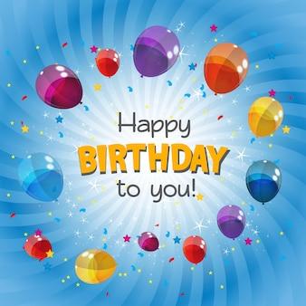 Ilustração em vetor de fundo de banner com balões coloridos de feliz aniversário