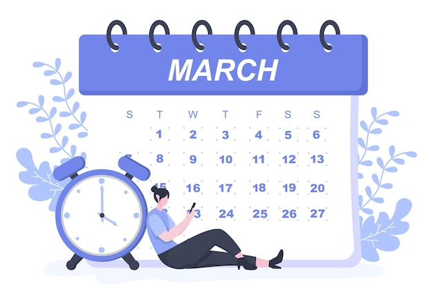 Ilustração em vetor de fundo de calendário com sinal circular para planejamento, gerenciamento de tempo, organização de trabalho e eventos da vida ou férias