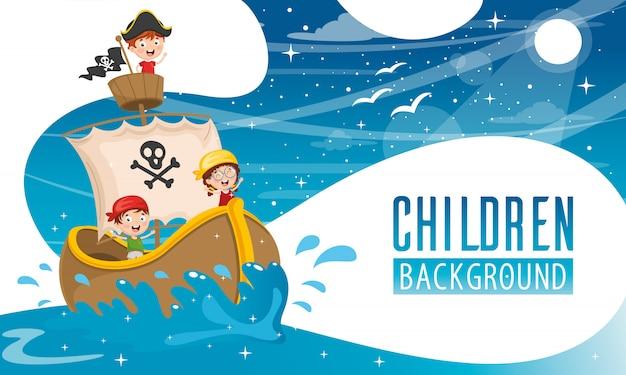 Ilustração em vetor de fundo de crianças