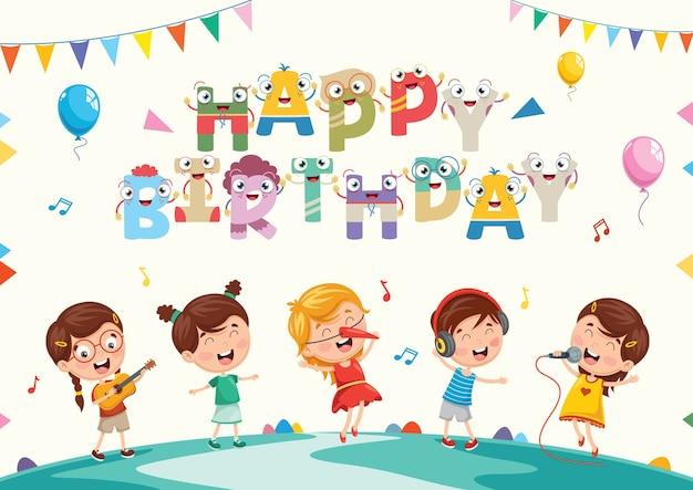 Ilustração em vetor de fundo de festa de aniversário de crianças