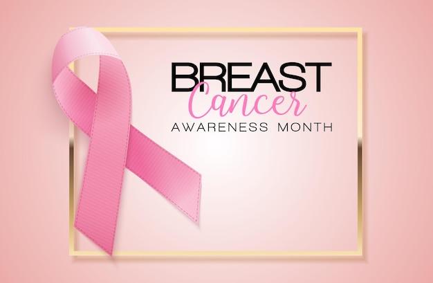 Ilustração em vetor de fundo de fita rosa do mês de conscientização sobre o câncer de mama